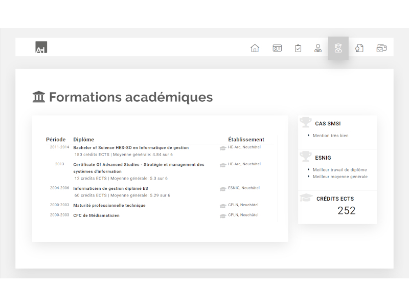 Site Internet - Page des formations